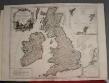 UNITED KINGDOM & IRELAND 1754 ROBERT DE VAUGONDY ANTIQUE COPPER ENGRAVED MAP
