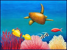 Large painting on canvas of a Green Sea Turtle swimming over Great Barrier Reef