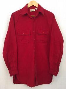 Vintage LL Bean Red Flannel Cotton Button Up Shirt Mens Medium Long 15.5 Neck US