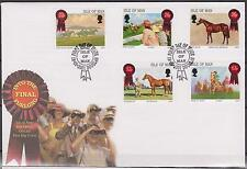 GB - ISLE of MAN 2001 Into the Final Furlong - Horse Racing SG 942/6 FDC HORSES