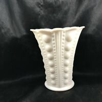 Vintage Flared Scalloped Rim Milk Glass Column Hobnail Vase