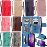 For Samsung S10 Plus S9 Note 9 Mirror Card Wallet Leather Stand Flip Case Cover