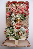 Vintage Victorian Pull Down Valentine w/Gorgeous Die Cut Flowers & Cupid *
