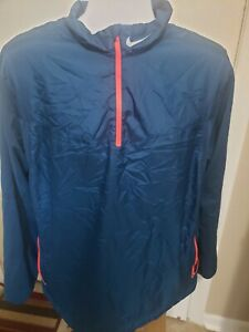 NIKE Golf Mens Red Quarter 1/4 Zip Pullover Windbreaker Wind Jacket Size XL