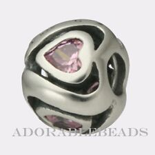 Authentic Chamilia Silver Mother's Heart Pink CZ Bead JB-7A *RETIRED*  LAST ONE!
