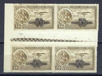 Mexico 1932 Sc# C49 Airmail 30c on 20c Eagle Plane gutter with grill block 4 MNH