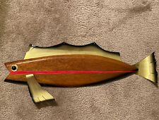Masketeers Walnut Brass Trout Wall Art Mid Century Retro Modern Fish
