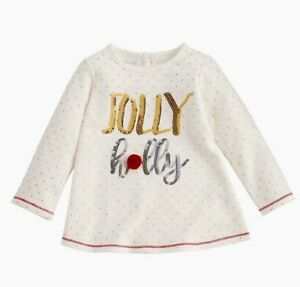 """Mud Pie Toddler Girls White Christmas Dazzle """"Jolly Holly"""" Sequin Tunic  4T-5T"""