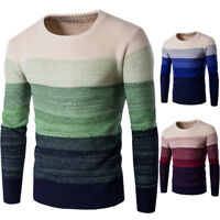 Herren Sweaters Pullover Shirt Langarm Rundhals Slim Fit Strick Tops Herbst Mode