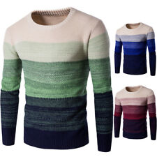 New Mens' Boys Long Sleeve Thickening Jumpers O-Neck Splicing Slim Fit Pullover