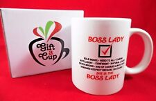 11oz Boss Lady Coffee Mug Tea Cup Giftbox Women's Pretty Gift for Her, Mom Wife