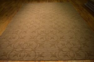 8 x 11 Brown Hand-Tufted Carved & Raised Italian Design Contemporary Rug