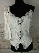 Victorias Secret Ivory Cami & Panty Set Sz L Satin Lace Button Vtg Gold Label