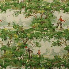 "COVINGTON AVONDALE MULTI FISHING TOILE  DESIGNER MULTIUSE FABRIC BY YARD 54""W"