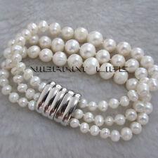 "7.5"" 4-9mm White AA 3Row Graduated Freshwater Pearl Bracelet Magnetic Clasp U"