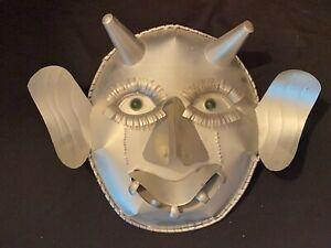 Vtg LG Taxco Mexican Folk Art Tin Horned Devil Demon Mask Primitive Tourist