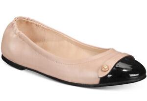 New Coach Women's Brandi Ballet Flats button patent leather black pale blush