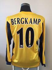 BERGKAMP #10 Arsenal Long Sleeve Away Football Shirt Jersey 1999-2001 (L)