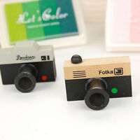 Korean Retro DIY Album Wooden Camera Rubber Stamp Gray & Brown Decor ES