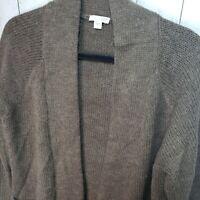 J. Jill Brown Open Front Cardigan Sweater Size Small Wool Blend Pockets