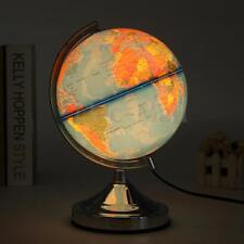 Illuminated Blue Ocean World Earth Globe Rotating With Night Light Desktop Decor