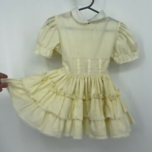VTG Marthas Miniatures We're Fussy Ruffle Full Circle Pageant Dress Sz T4 Yellow