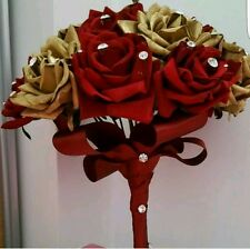 RED AND GOLD FAKE SILK ROSES BOUQUET WITH SWAROSVSKI CRYSTALS