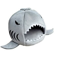 New listing Kojima Cute Color Shark Round House Puppy Bed with Pet Bed Mat Small to Medium