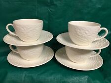 Studio Nova Woodland China; Set of 4 White Embossed Cups & Saucers, NOS!!!