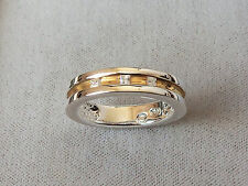 Men's Gold Plated Sterling Silver CZ Stone Set Wedding Band Ring, size S.