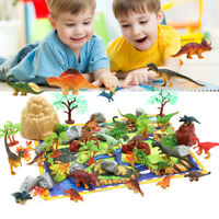 50X Dinosaurs Toy Animals Jurassic Figures Kids Game Playset + Mat Trees