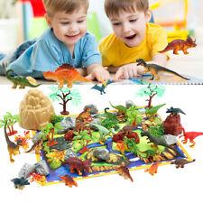 50X Dinosaurs Toy Animals Jurassic Figures Kids Game Playset + Mat Trees
