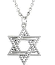 SILVER la stella di David Collana Ciondolo Ebraico EBRAISMO 45 50 cm CATENA UK Venditore