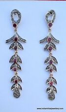 victorian diamond ruby 14k gold silver earrings