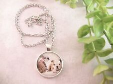 """Women's Pendant Necklace Dog Picture Silver Toned Metal  20.5"""" Chain Bulldogs"""