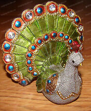 Hand-crafted Silver Beaded / Bejeweled PEACOCK (1388)