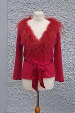 Principles Red Wool Angora Mix Soft Cardigan Top Feather Neck Bow UK 10 12 14