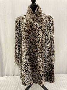 NWT VINTAGE Monterey Fashions Cheetah Print Faux Fur Coat 1980's Size Small