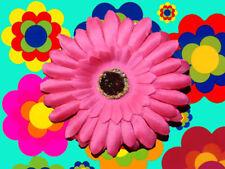 A20✪ 70er Jahre Hippie FlowerPower Haarblume Gerbera Haarspange Clip pink