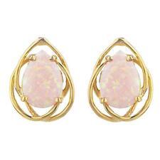 14Kt Gold Pink Opal Pear Teardrop Design Stud Earrings