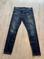 Diesel Tepphar WASH0844T Slim-Carrot Stretch Blue Ripped Denim Jeans W36 L34