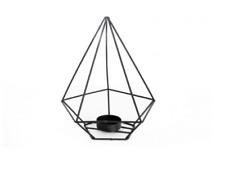 Small Black Pyramid Geometric Metal Tea light Candle Holder Lantern