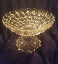 EAPG 1895 Mckee Yale Turkey Track Fluted Crowfoot Dish Bowl on Pedestal Rare