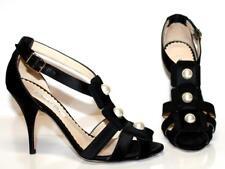SALE Oscar de la Renta Black Silk/Satin Large White Pearl T-Strap Shoe 36 6