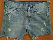 7 For All Mankind Josefina Cutoff Jean Shorts Holes Distressed size 12