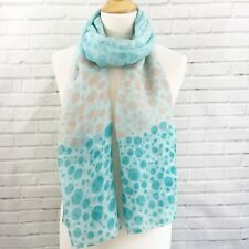 Scarf Pashmina Wrap Green Jade Beige White Polka Dot Spots Light Weight Shawl
