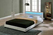 B-WARE LED Doppelbett Polsterbett 140x200cm Bettgestell Bett Weiß Bettrahmen