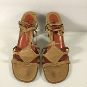 Diana Ferrari Leather Tan Indian Style Sandals Shoes 9.5 40.5