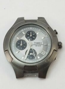 Men's TIMEX WR 50M Gray Stainless Steel Chronograph Watch -Works -No Band-Read
