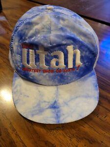 Vintage Ski Utah Greatest Snow On Earth Snap Back Hat White/Blue